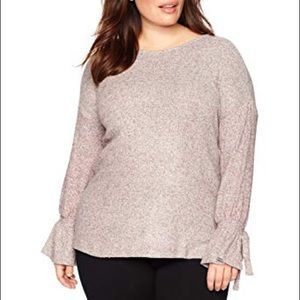 Lucky Brand Plus Size Tie Sleeve Knit Sweater